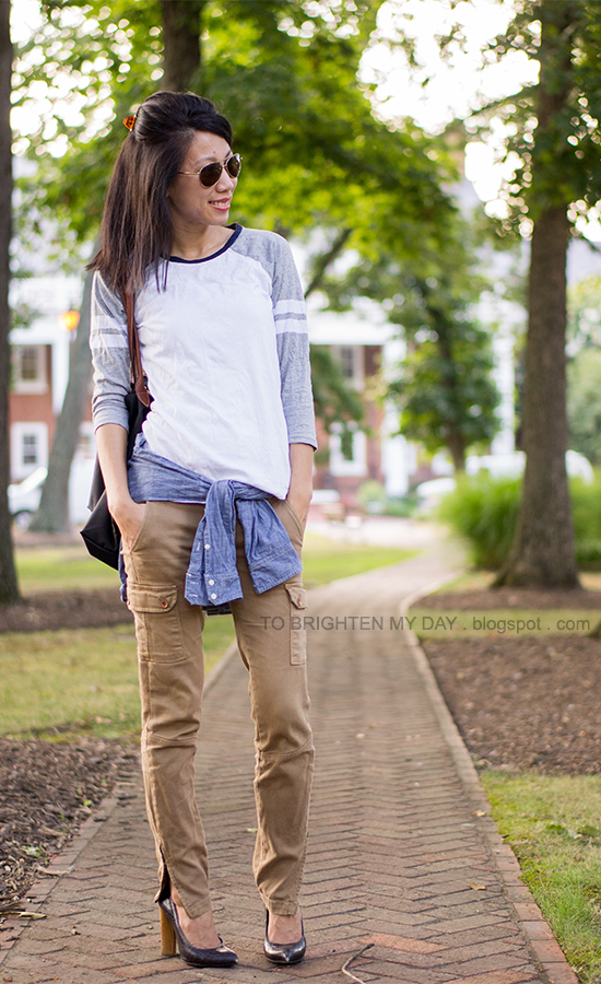baseball tee, chambray shirt, cargo pants, wooden heeled pumps