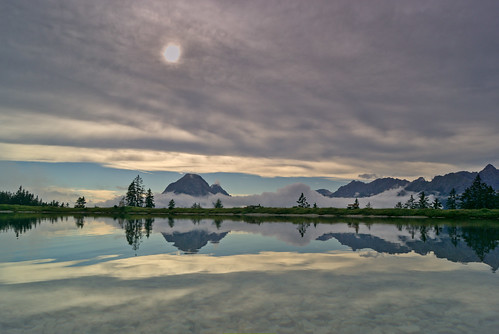 sunset lake reflection water clouds cloudy seefeld