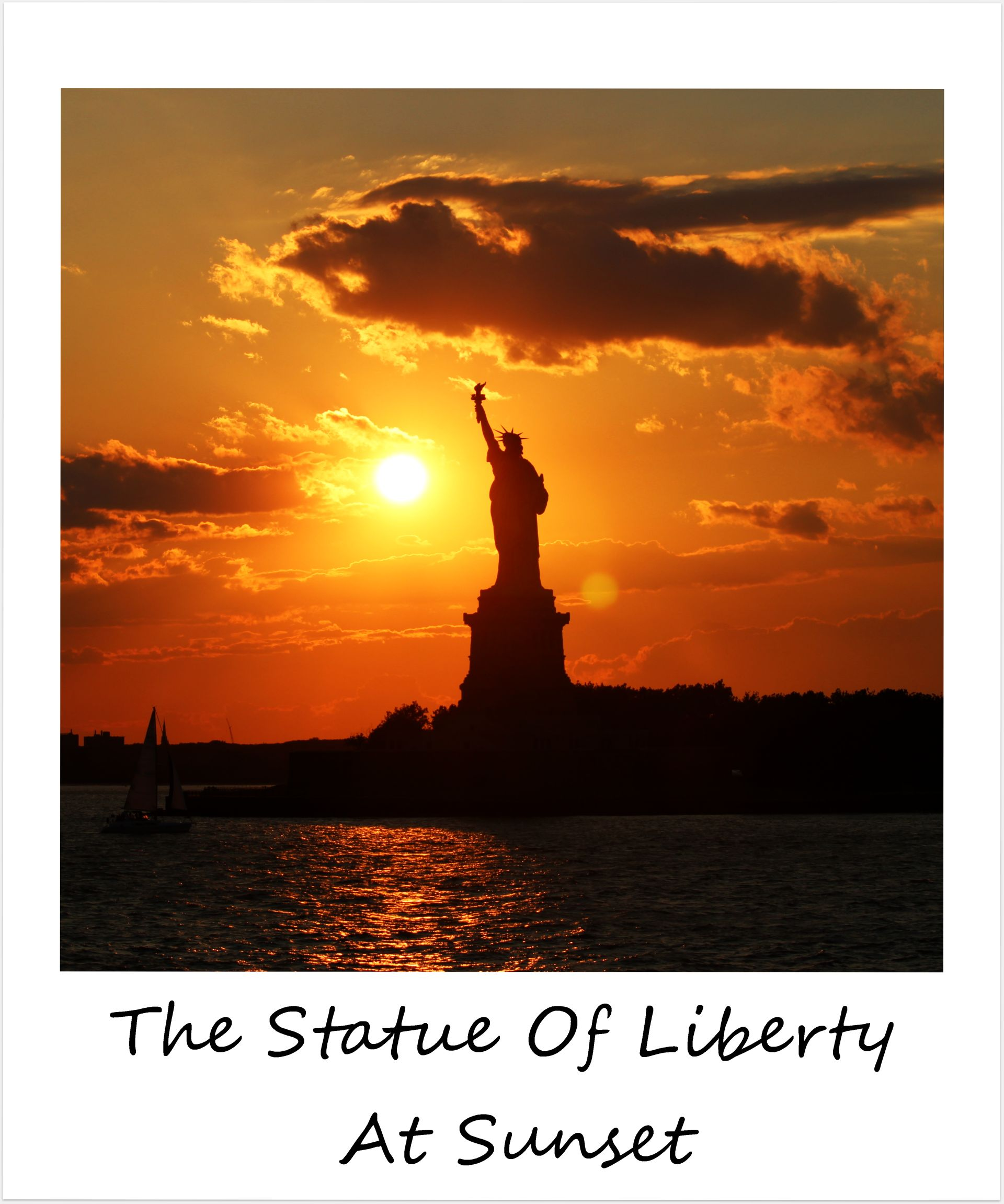 Polaroid of the week usa new york city statue of liberty sunset