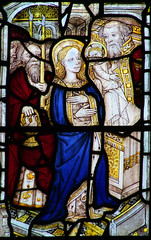 VII: Presentation in the Temple: Joseph carries the doves, Mary offers the child to Simeon.