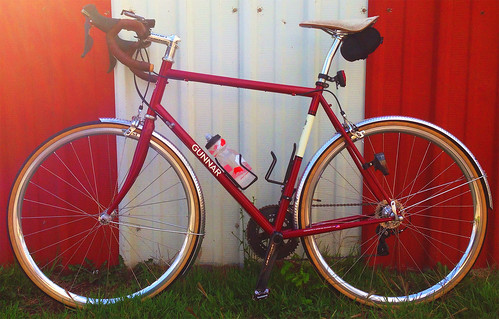 <p>This is a shot of the competed Gunnar Sport in Garnet Metallic complete, with these specs: Fork - IRD Mosaic Composite.  Drivetrain - Shimano Ultegra 6800 11 speed. Cockpit - Chris King Headset, Ritchey Classic stem and drop bars, Brooks bar tape & Cambium C17 saddle (but I usually have a brown B17 narrow on her).  Wheels - by Sugar Wheel Works: White Industries T11 hubs laced to HPlus Son Archetype rims with Sapim Spokes.  Honjo Fenders.  Tektro Long Reach Brakes  Build was by Jim's Bicycle Shop in Cincinnati.</p>