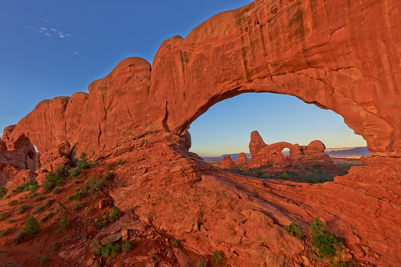 Turret Arch trough North Window Arch- Arches National Park