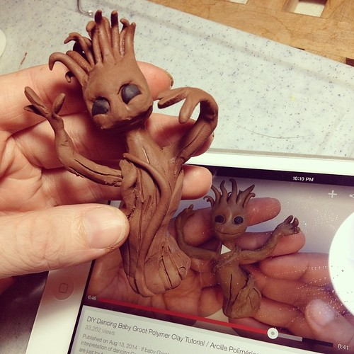 Making a Baby Groot using a YouTube tutorial from NerdECrafter. Just wish I could get his face as sweet as the demo!