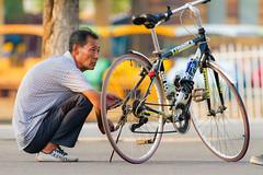 Old Man + Phone (Asian Squat) / 中國東北吉林市北山公園 Jilin Beishan Park, Dongbei, China / SML.20140727.7D.52174
