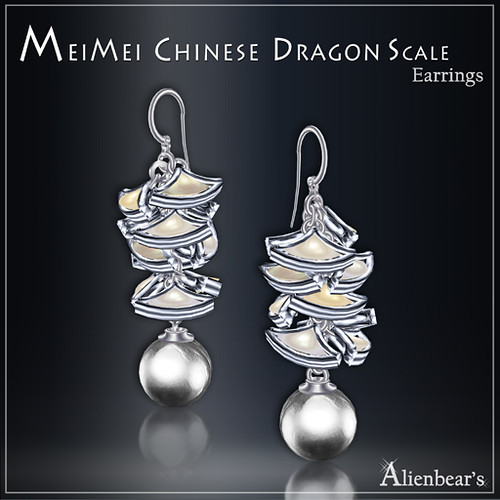 MeiMei Dragon Scale Pt Earrings Pale