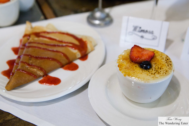 Berry crêpe and Oatmeal crème brûlée