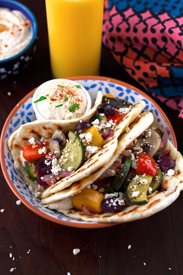 Hummus and Sauteed Vegetable Flatbread Wraps