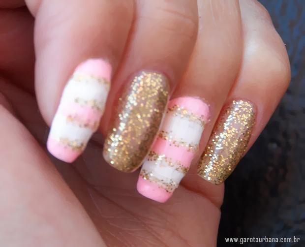 Unhas dourado e rosa 6
