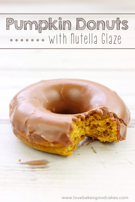 Pumpkin Donuts with Nutella Glaze - yum! Easy and delicious recipe!
