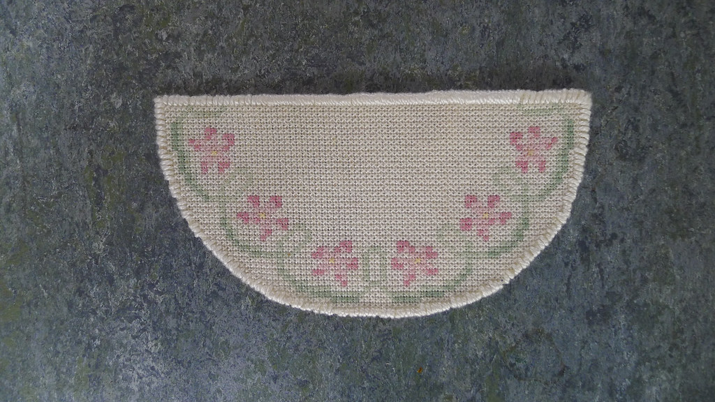 Floral hearth rug carpet cross stitch embroidered by me do