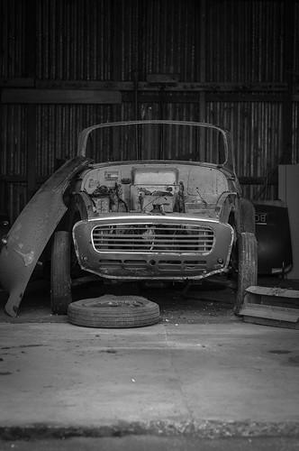 old blackandwhite white black cars car vintage automobile convertible vehicle rusting morris minor derelict