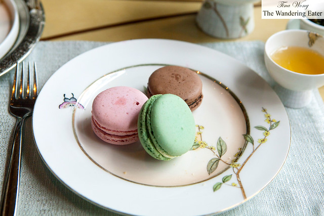 My trio of macarons - pistachio, chocolate and raspberry