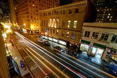 Sutter Street, San Francisco, night, long exposure