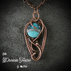 Blue Seed of Life Pod - Lampwork and Copper Wire Wrapped Necklace