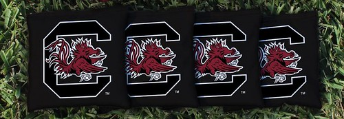 SOUTH CAROLINA USC GAMECOCKS BLACK CORNHOLE BAGS