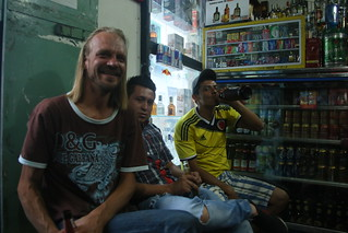 Corner store drinking with the locals and this Finnish guy.  San Gil, Colombia.