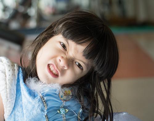 Portrait of Asian little girl in princess dress