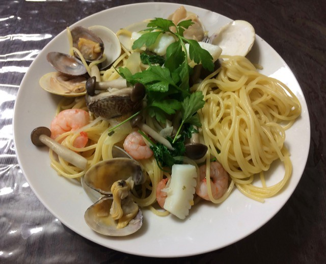 Pasta of seafood and Italian parsley