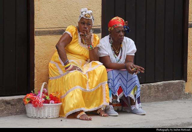 Old women smoking cigars, La Habana Vieja, Havana, Cuba