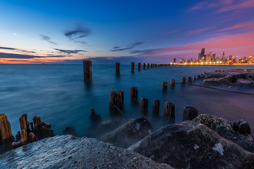 morning lake chicago tower beach water sunrise early illinois nikon rocks long exposure michigan great lakes lakeshore pilings hancock nikkor trump fullerton d600 1635mm