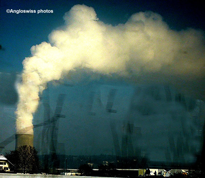 Gösgen Nuclear Power Plant through train window