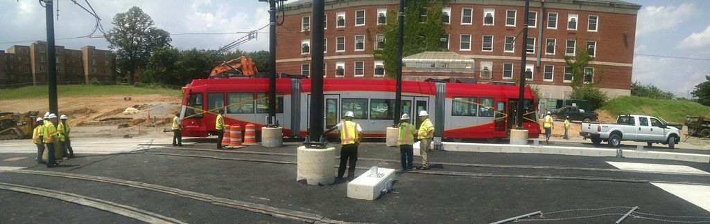 The first streetcar is in the CBTC maintenance yard of H & Benning