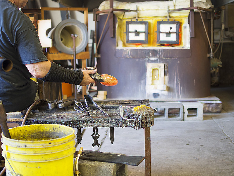 Watching glass blowing