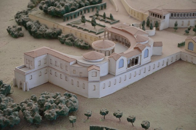 Model of Hadrian's Villa showing the Ninfeo Fede and the circular temple dedicated to the Venus of Cnidos