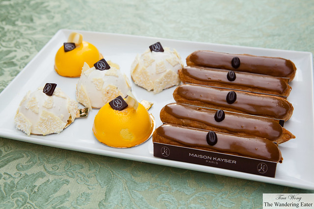 Large platter of Mangodor, Cocorico and Coffee eclairs