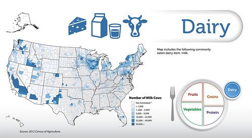 Map includes the following commonly eaten dairy item: milk. Source: 2012 Census of Agriculture.  Click to enlarge.