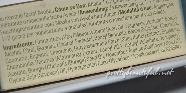 Aveda Balancing Infusion Botanical Treatment for Dry Skin Ingredients