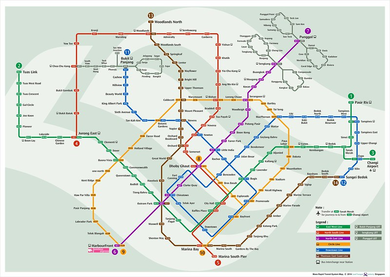 Singapore MRT Map 15th August 2014