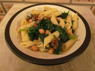 Penne and Chickpeas with Spinach, Pine Nuts, and Raisins