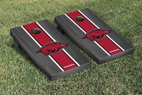Arkansas Razorbacks Cornhole Game Set Banner Onyx Stained StripeVersion