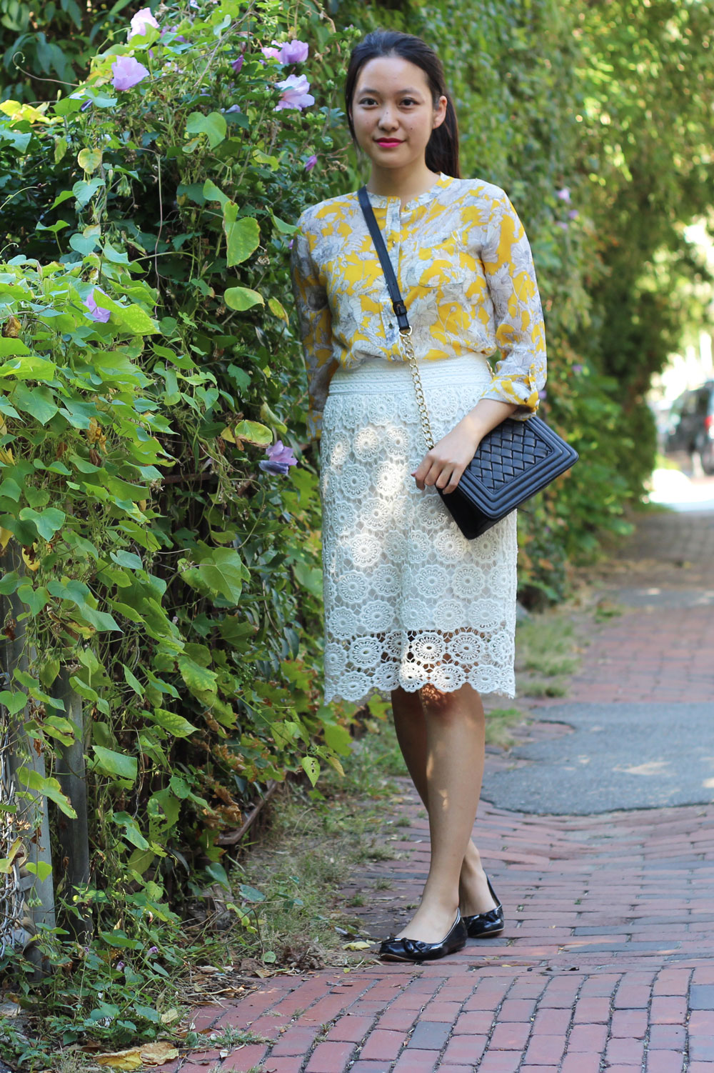 Yellow floral Liz Claiborne blouse and white lace skirt