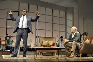 Malcolm-Jamal Warner and Will Lyman in the Huntington Theatre Company production of Todd Kreidler's compelling family comedy GUESS WHO'S COMING TO DINNER directed by David Esbjornson, playing Sept. 5 – Oct. 5, 2014 at the Avenue of the Arts / BU Theatre. Photo: Paul Marotta