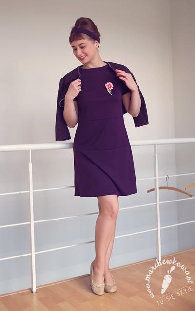 marchewkowa, blog szycie, krawiectwo, burda, wykrój, pattern, sewing, retro, vintage, 60s, punto, jersey, dress