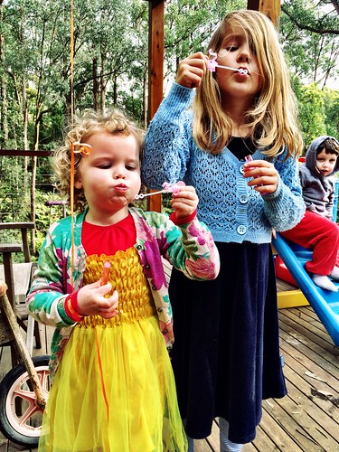 Olivia and Zoe. Bubbles.