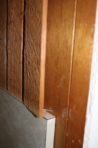 Kitchen Renovation - wood paneling behind the wood paneling