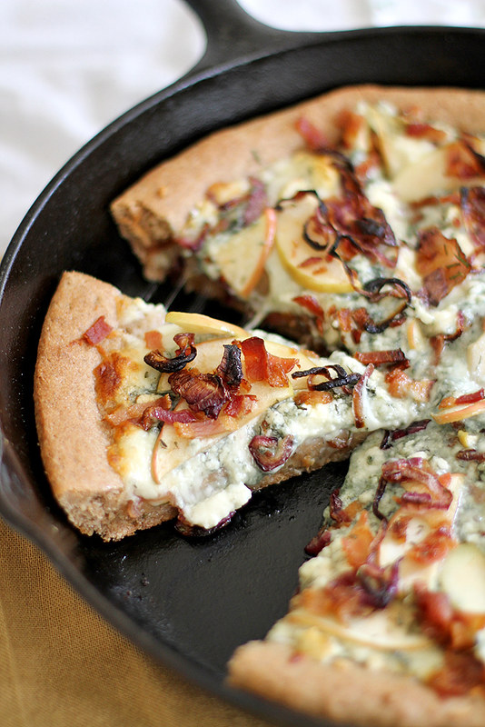 Caramelized Apple, Bacon and Blue Cheese Pan Pizza | girlversusdough.com