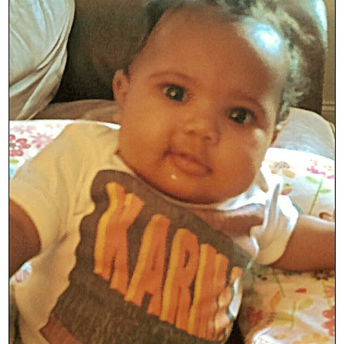 Look at sweet, little KARMA sporting her new baby onesie from Signyourname! (Can't get enough of those cheeks!)