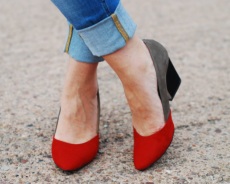 Colour blocked heels