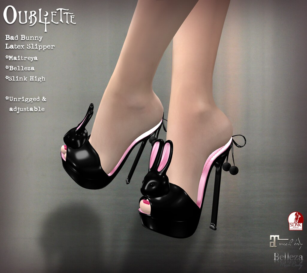 Oubliette- Bad Bunny Latex Shoes - SecondLifeHub.com