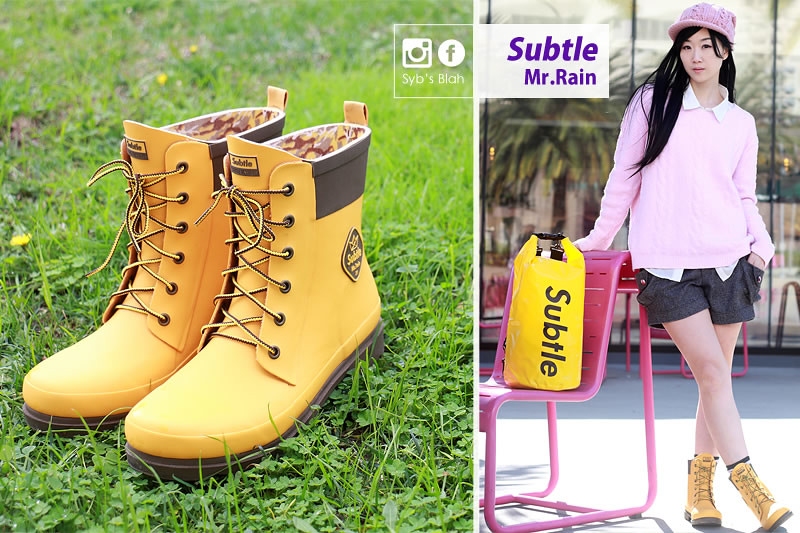 subtle,mr.Rain,雨靴,雨鞋,雨具,下雨天,防水,防水包,subtlelove,試用報告,穿搭,時尚,馬丁鞋