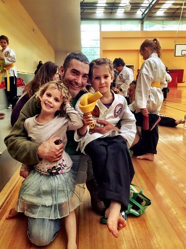 Karate Grading: Three happy people