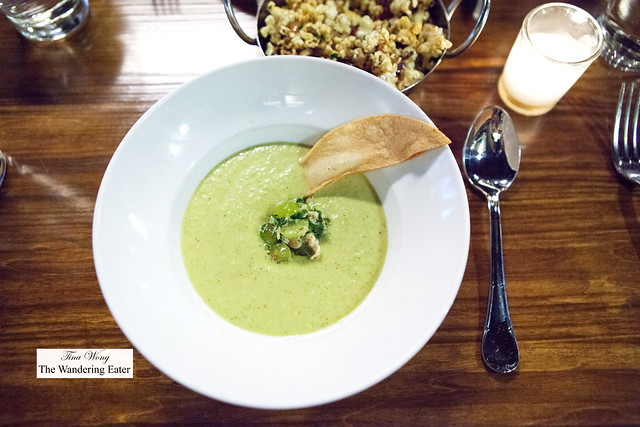 Green gazpacho with Jonah crab and grape salsa