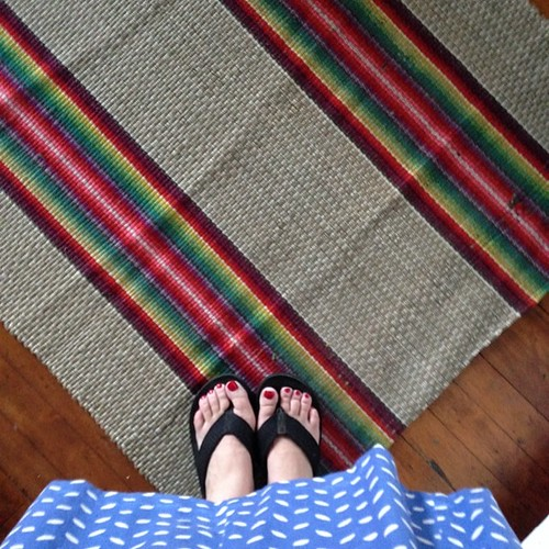 Bought a very cool rainbow rag runner for my kitchen floor!