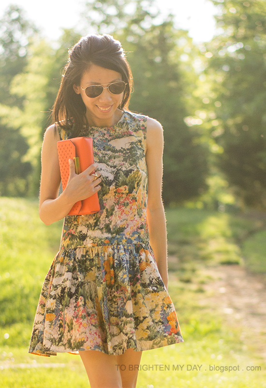 wildflower dress, orange clutch