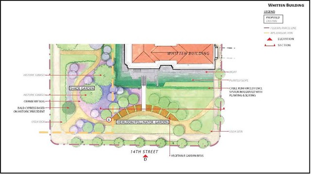site plan for Shade Garden, Heirloom and Pollinator Garden (by: OLBN, courtesy of NCPC)
