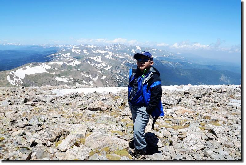 Jacob on James Peak's summit 5